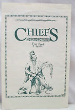 Chief's Fine Food & Spirits Menu 1998 Factory Outlet Village Osage Beach MO.