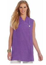 Bryn Walker Purple Ultra Purple Lightweight Linen Dohwa Overlap Vest Top 1X