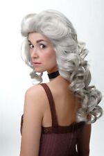 PERRUQUE pour Femme Raie volumineux Boucles Gris Baroque Style des années 80