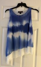 Womens Sweet Pea Staci Frati Tie Dye Top M Layered Asymmetrical Blue & White NWT