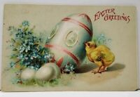 Easter Greeting Chick with Decorated Egg and Flowers Postcard G1
