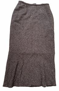 Liz Claiborne Vintage Skirt Size 8 Brown Tweed Long Maxi Wool Blend 1940's