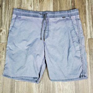Hurley Board Shorts Mens Small Blue/ Grey Swim Trunks Suit Surf Adult Drawstring