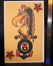 Navy Buzzard Anchor 8 vintage Sailor Jerry Traditional style Flash poster print