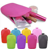 NEON RUBBER SILICONE PURSE PHONE HOLDER MAKEUP COSMETIC CASE