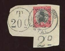 SOUTH AFRICA 1926 SHIP 1d RICHMOND NATAL + T20c + 2d