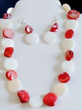 """ALL HANDMADE RED/WHITE FLAT ROUND SHELL,NUGGET NECKLACE  EARRING SET 19"""""""