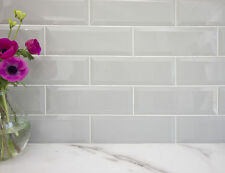 Gloss Grey Large XL Bevelled Metro Brick Kitchen Bathroom Wall Tiles 10 x 30 cm
