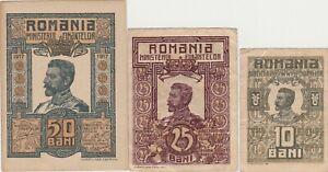ROMANIA 10, 25, 50 bani Ferdinand 1917 XF