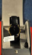 """Movado"" ~7J Museum cal.Eta 955.412 PVD Gold Trims case Black dial  Swiss watch"
