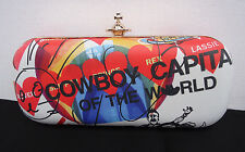 NEW $510 Vivienne Westwood Clutch Shoulderbag Meaningless Print Cowboy Hearts