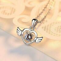 Angel Wing Love Heart Silver White Gold Pave Cubic Zirconia Pendant Necklace
