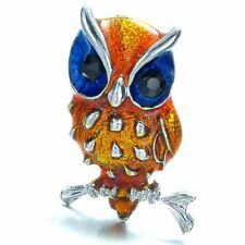1P Big Eye Owl Animal Crystal Rhinestone Brooch Pin Women/Girls Party Gift Brown