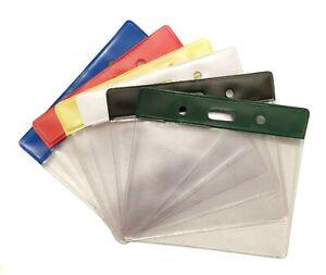 ID Badge Pocket Plastic Vinyl Wallet Pouch(Size 60 x 90mm) Choose Your Colour