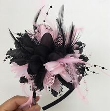 Black And Baby Pink Fascinators On Headband