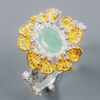 Emerald Ring Silver 925 Sterling Jewelry Handmade Size 8.75 /R139382