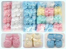 Crochet Booties Ribbon Baby Newborn Pink White Blue Unisex 0-3 Month Pack of 12