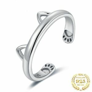 Silberring 925 Sterlingsilber Ring Katze Ohr Damenring Katzenliebhaber Geschenk.