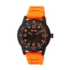 NEW Crayo CR2204 Unisex Splash Collection Black Dial/Case Orange Silicone Watch