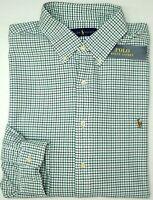 NWT $89 Polo Ralph Lauren Green Plaid Shirt Mens Oxford Cotton Long Sleeve NEW