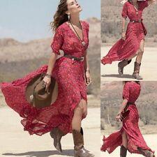2016 Fashion Boho Womens Summer Chiffon Dress Ladies Party Beach Long Maxi Dress