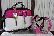 Betsey Johnson Cargo Weekender Black Fuchsia Travel Tote Bag & Cosmetic Case NWT