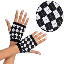 Black/White Open Clueless Diamond Fingerless Wrist Cuffs Gloves Harlequin Argyle