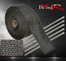 30 Foot Turbo Exhaust Header Induction Piping Heat Wrap Cover + Zip Ties Black
