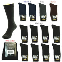 Lords Solid Colors Men Fashion Cotton Mid Calf Dress Socks Size 10-13