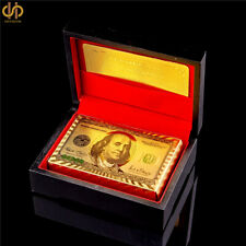 24K Carat Gold Foil Plated Playing Cards $100 Colored Poker Game With Black Box
