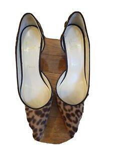 Christian louboutin Leopard Print Calf Hair Kitten Heel Dorsay Shoes Sz 38.5 Eu