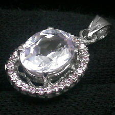 925 Sterling Silver Pink Kunzite 4.4ct Pendant Sapphires White Gold Pl w/t Chain