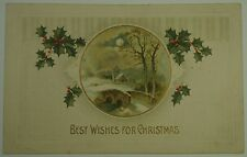 Vintage Christmas Postcard featuring country scene with arched bridge