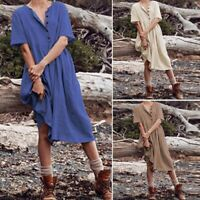 ZANZEA Women Short Sleeve Summer T-Shirt Dress Buttons Midi Dress Sundress Plus