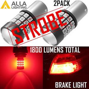 AllaLighting 1156 Legal LED Strobe Brake|Signal Light Bulb Flashing Blinking Red