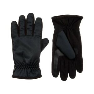 Isotoner Men's Nylon & Fleece Gloves with Gathered Wrist - A70171
