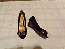 794db1f88b4 womens circa joan   david shayna black suede leopard print heels shoes size  6.5