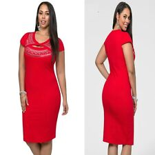 Red Cap Sleeve Bodycon Cocktail Formal Party Sexy Slim Midi Dress Plus Sz 16 18