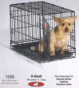 "Single Door Folding Pet i Crate Safety Security Comfort 22""L x 13""W x 16""H #1522"