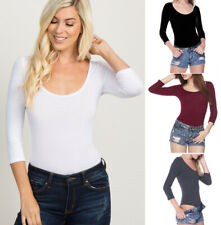 Women's Scoop Neck Bodysuit 3/4 Sleeve Basic Solids Stretch Cotton Knit Thong