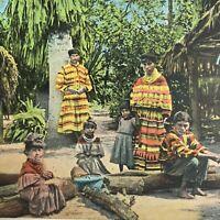 Florida Vintage Postcard Everglades Seminole Tribe Indian Family White Border