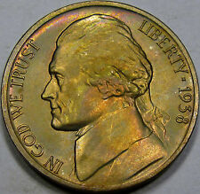 1938-D Jefferson Nickel Superb Gem BU MS++ Super Pretty Toning, Great Coin, NICE