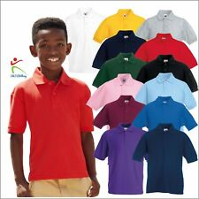 Fruit of the Loom Kids Uniform Short Sleeve Poloshirt Casual School Wear T Shirt