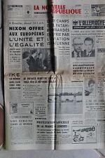LA NOUVELLE REPUBLIQUE 25 FEVR 1969 - NIXON RIVIERE KWAI BELLONE TOUR SARDAIGNE