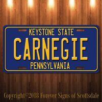 Carnegie Pennsylvania City/College State Aluminum Vanity License Plate Blue