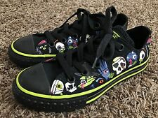 CONVERSE ALL STAR SHOES KIDS BLACK GREEN HALLOWEEN WITCH EYE SPIDER WEB SKULL 12