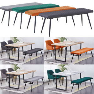 Soft Velvet Long Seat Bench Dining Chairs Padded Metal Legs Lounge Stool Bed End