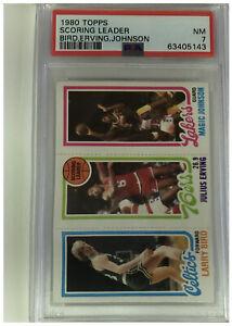 1980 Topps Larry Bird (RC), Magic Johnson (RC), Julius Erving (HOF) PSA Graded 7