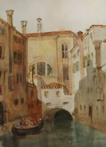 1838 ORIGINAL WATERCOLOUR PAINTING A CANAL VIEW IN VENICE ITALY SIGNED M.E.A.