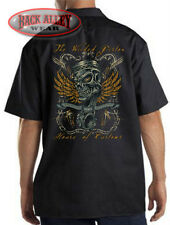 THE WICKED PISTON Skull Mechanics Dickies Work Shirt ~ Customs Race Engines